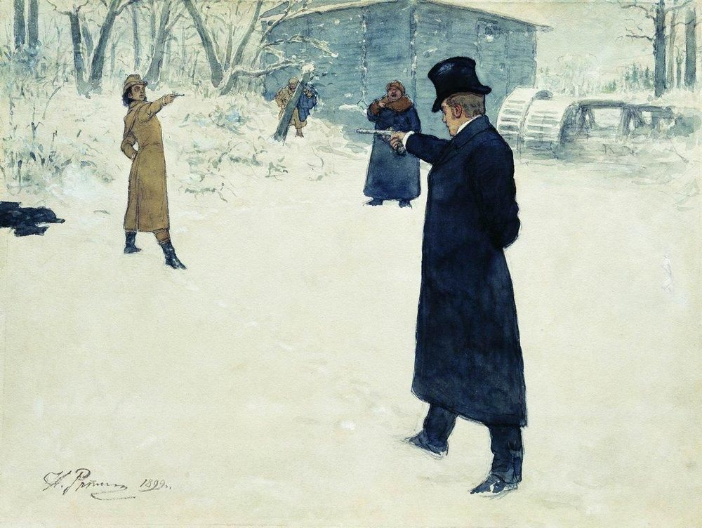 """Ilya Efimovich Repin. The duel between Onegin and Lensky. The illustration of """"Eugene Onegin"""""""