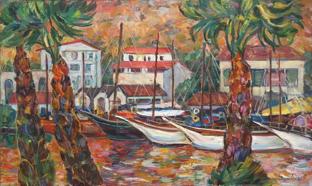 Oksana Viktorovna Zalevskaya. Landscape with yachts and palm trees