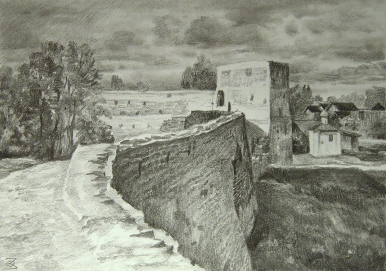 Oleg Borisovich Zakharov. Autumn in Izborsk. Sketch.