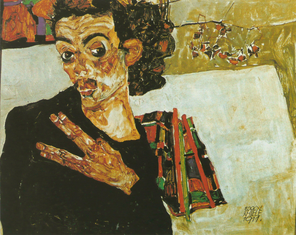 Egon Schiele. Self portrait with black vase and the fingers spread