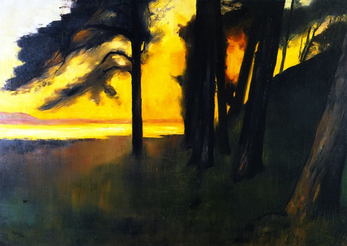 Lesser Ury. Sunset over Grunewaldsee