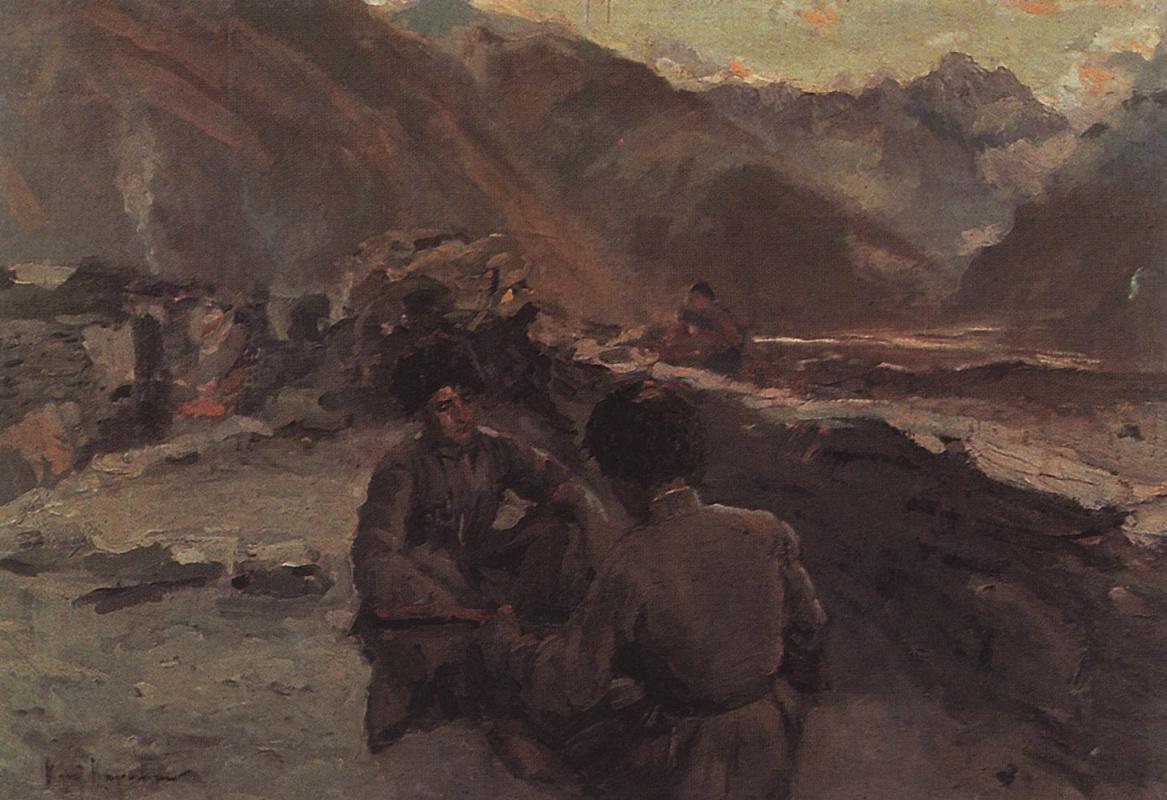 Константин Алексеевич Коровин. На Кавказе. Сидящие горцы
