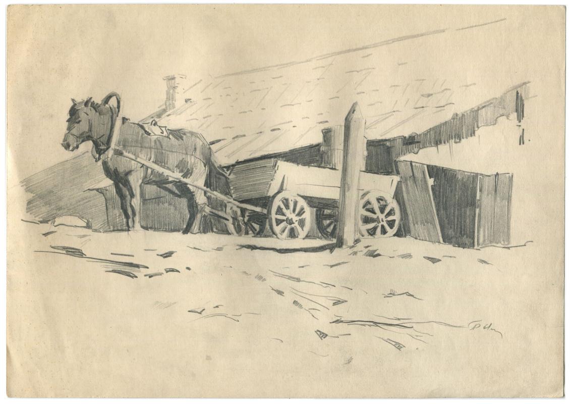 Alexandrovich Rudolf Pavlov. Horse with a cart near the house. 1961