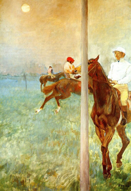 Edgar Degas. Jockeys before horse racing