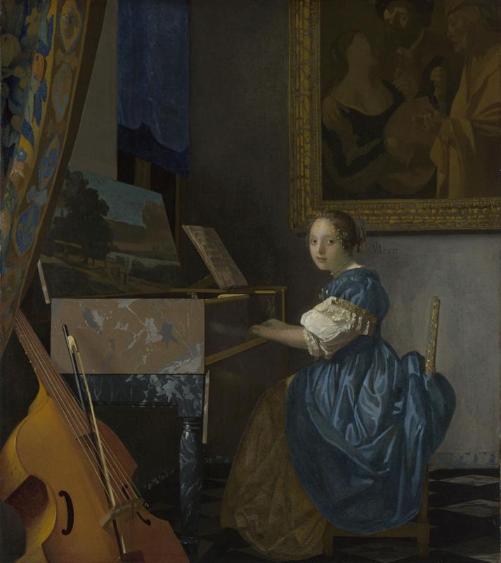 Jan Vermeer. The lady sitting at virginale