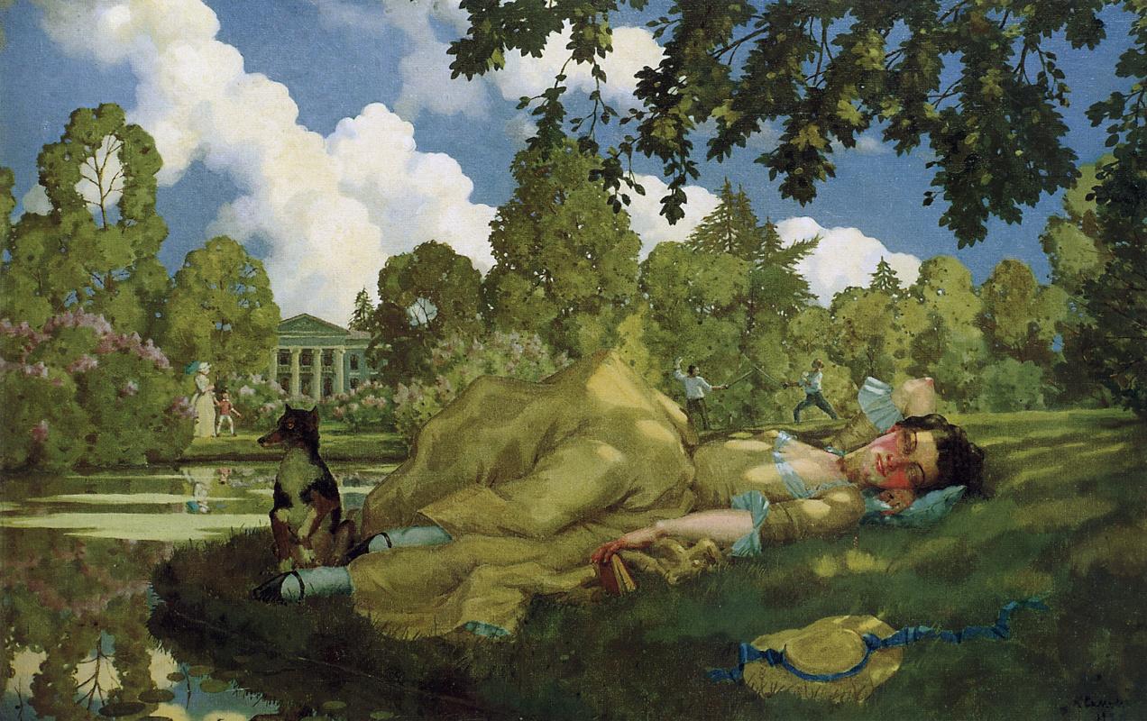 Константин Андреевич Сомов. Спящая молодая женщина в парке