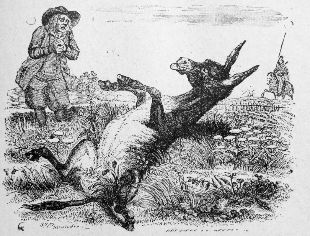 Жан Иньяс Изидор (Жерар) Гранвиль. Старик и Осел. Иллюстрации к басням Жана де Лафонтена