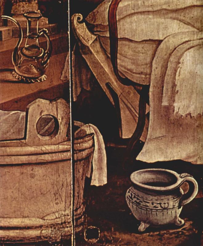 Маттиас Грюневальд. Изенхаймский алтарь. Рождество Христово. Фрагмент