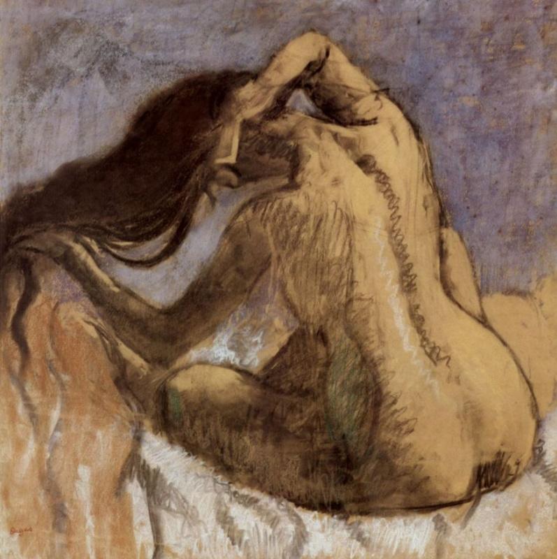 Edgar Degas. Nude Woman Combing her Hair