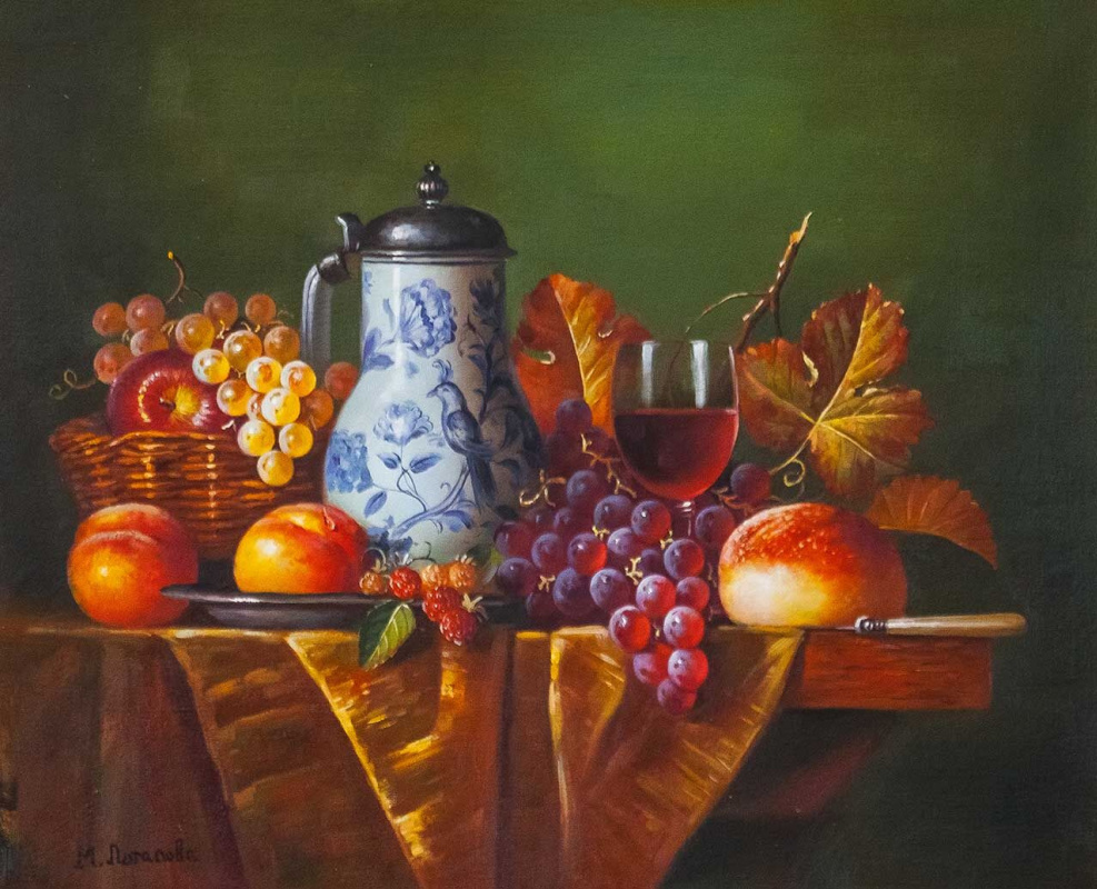Maria Potapova. Still life with a jug of wine and fruit