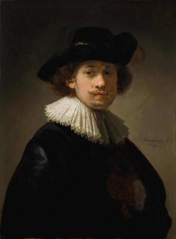 Рембрандт Харменс ван Рейн. Автопортрет в кружевном воротнике и чёрной шляпе