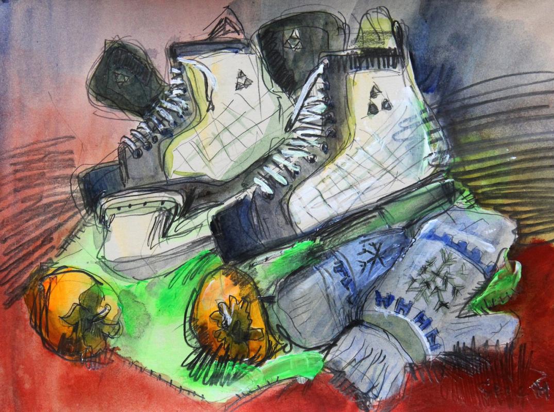 Ilya Pavlovich Spichenkov. Still life with skates