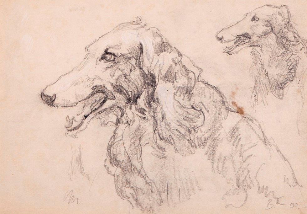 Valentin Aleksandrovich Serov. Joyful Greyhound. Surprised Greyhound