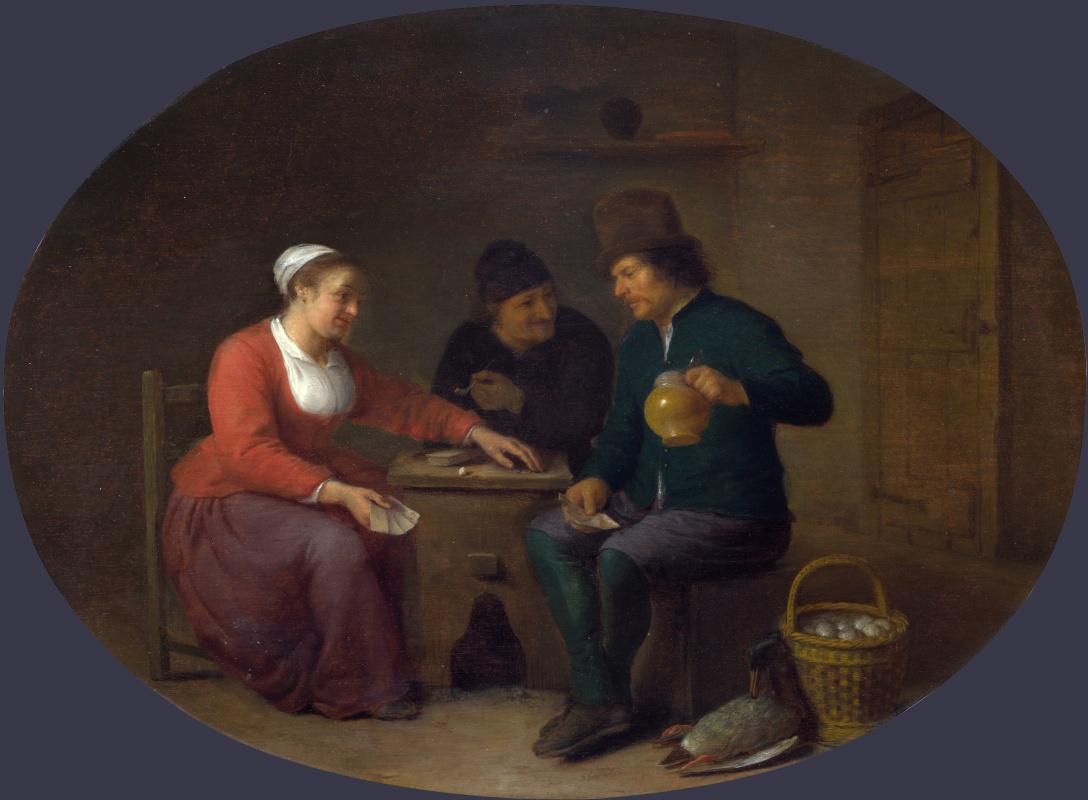 Соргх Хендрик. Женщина играет в карты с двумя крестьянами