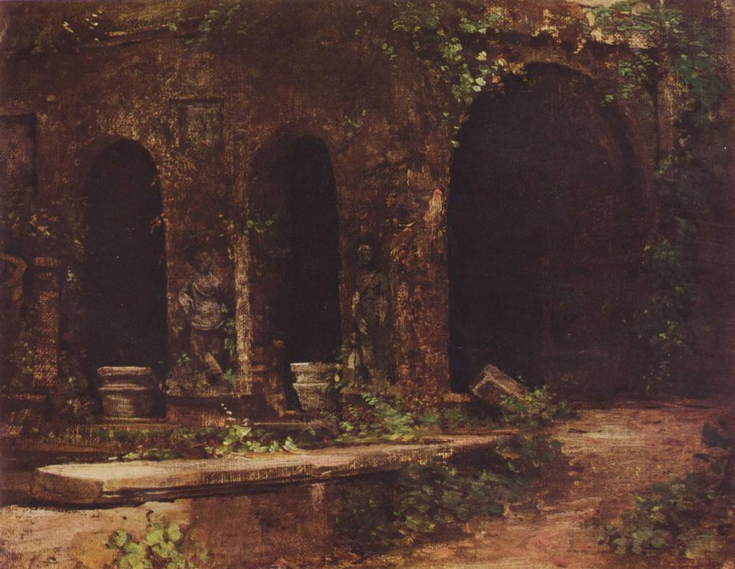 Карл Эдуард Фердинанд Блехен. Грот в парке виллы д' Эсте близ Рима
