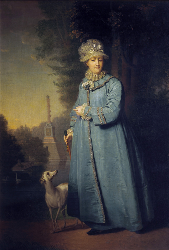 Vladimir Lukich Borovikovsky. Catherine II strolling in the Park Tsarskoselsky with the Chesme column in the background