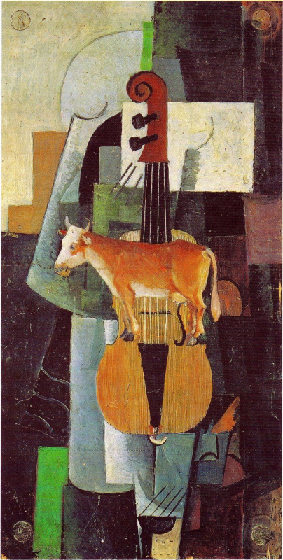Kazimir Malevich. Cow and violin
