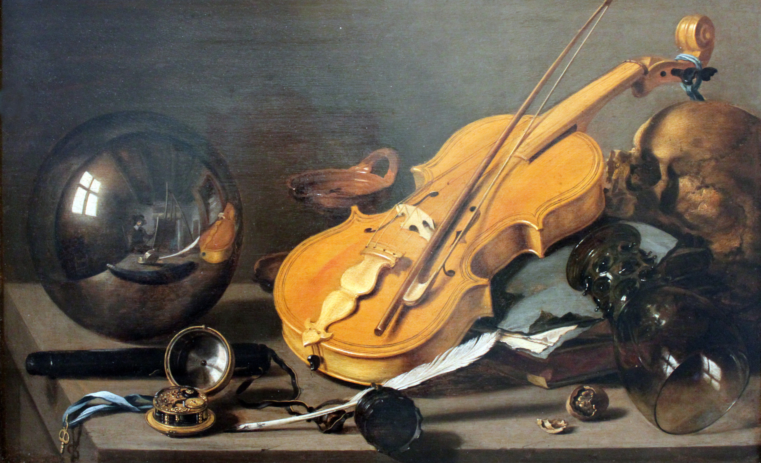Pieter Claesz. Vanitas. Still life with violin and glass ball