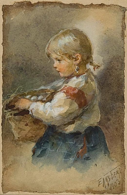 Елизавета Меркурьевна Бём (Эндаурова). Девочка с туеском