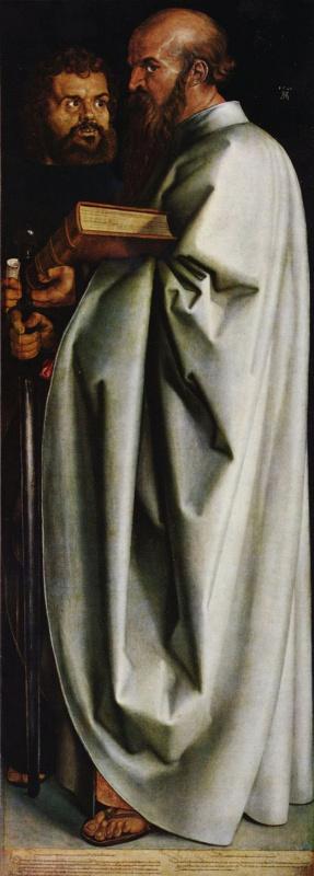 Альбрехт Дюрер. Четыре апостола, правая часть, сцена: Святые Марк и Павел