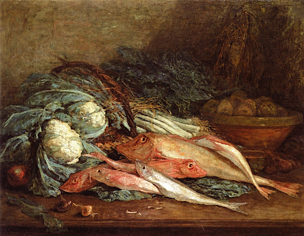 Eugene Boudin. Still life with vegetables and fish