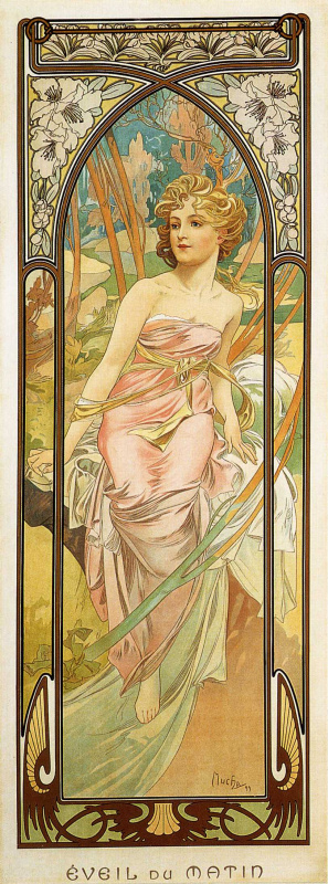 Alfons Mucha. Waking up in the morning. Series times of the day