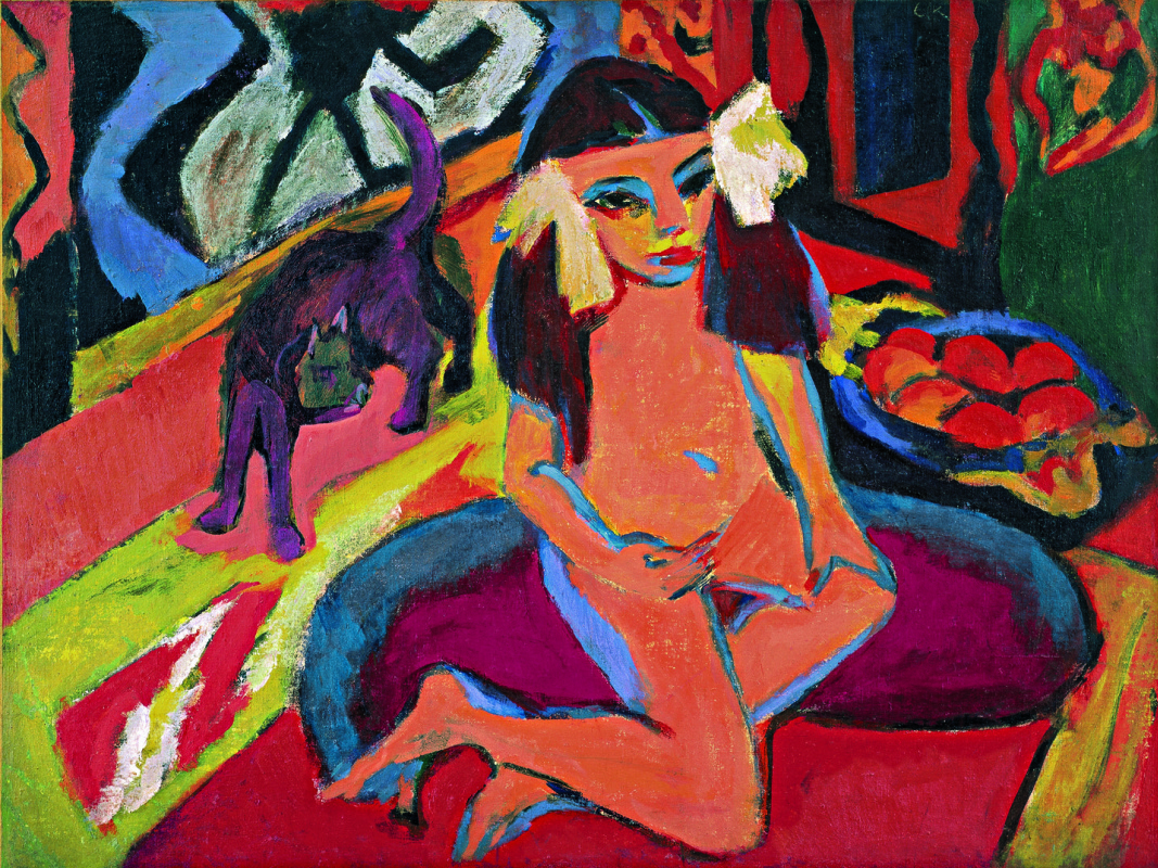 Ernst Ludwig Kirchner. Girl with cat (Franzi)