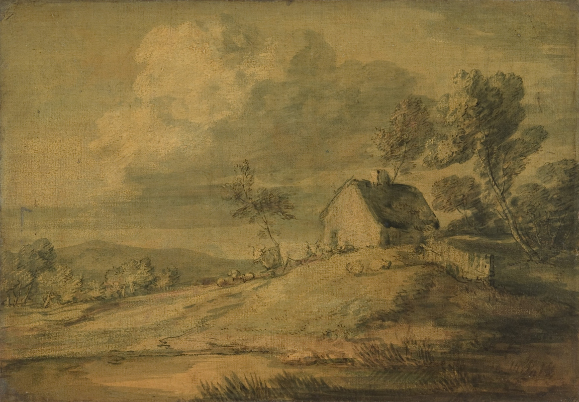 Thomas Gainsborough. Landscape with farm house, cows and sheep