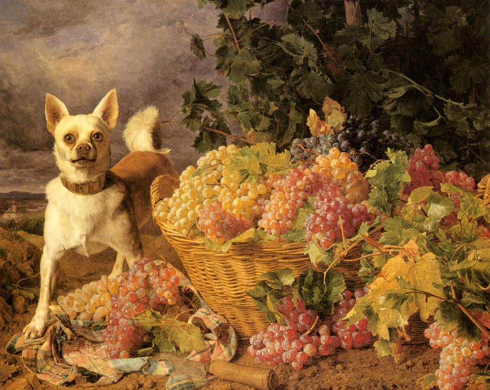 Фердинанд Георг Вальдмюллер. Пейзаж с собакой за корзиной винограда