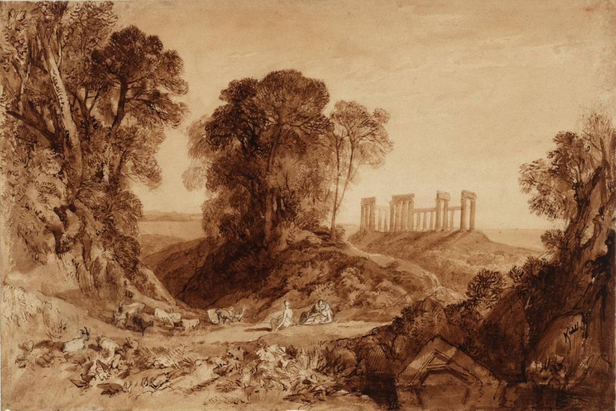 Joseph Mallord William Turner. The temple of aphaia on Aegina