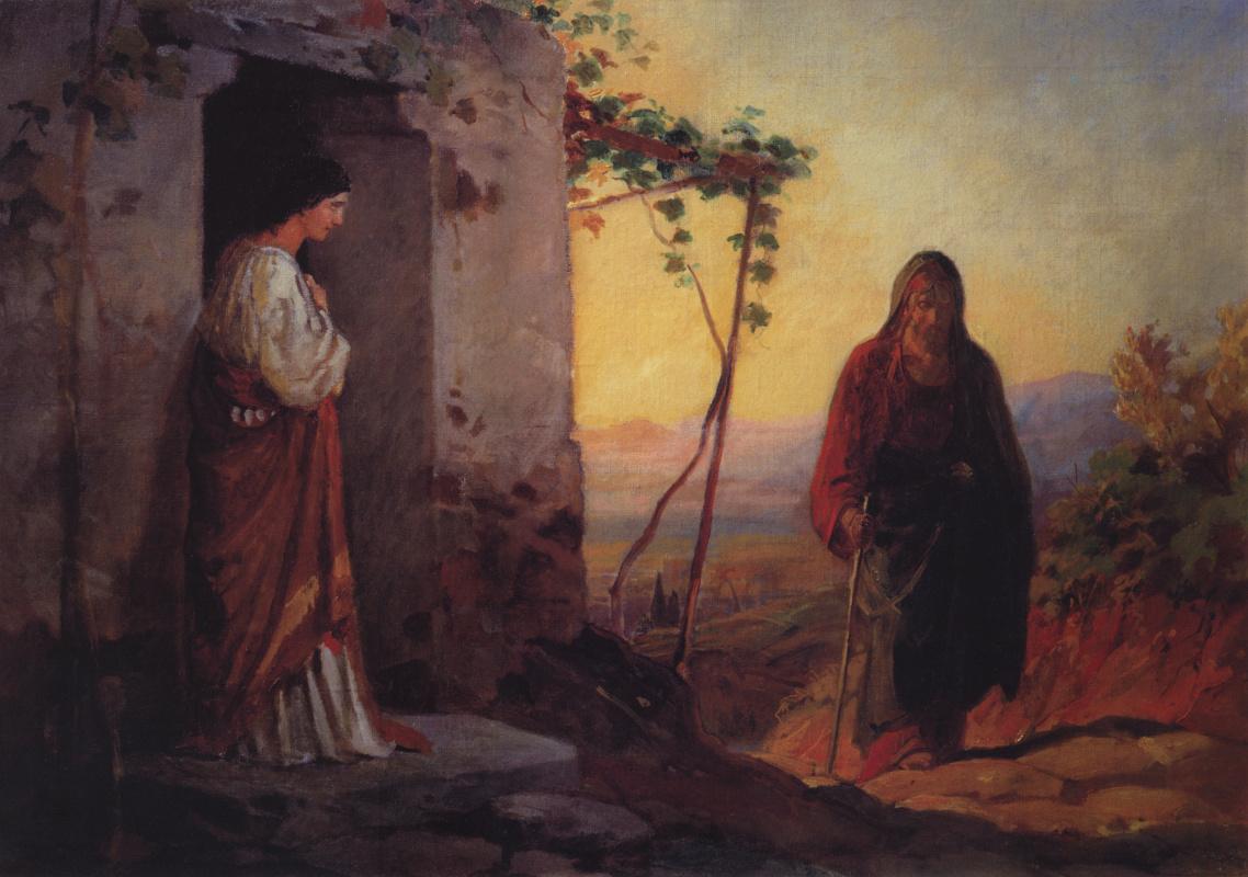 Николай Николаевич Ге. Мария, сестра Лазаря, встречает Иисуса Христа, идущего к ним в дом. Эскиз неосуществленной картины