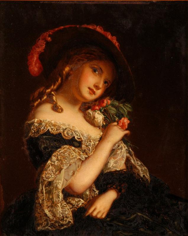 William Frayth Powell UK 1819-1909. Girl with flowers.