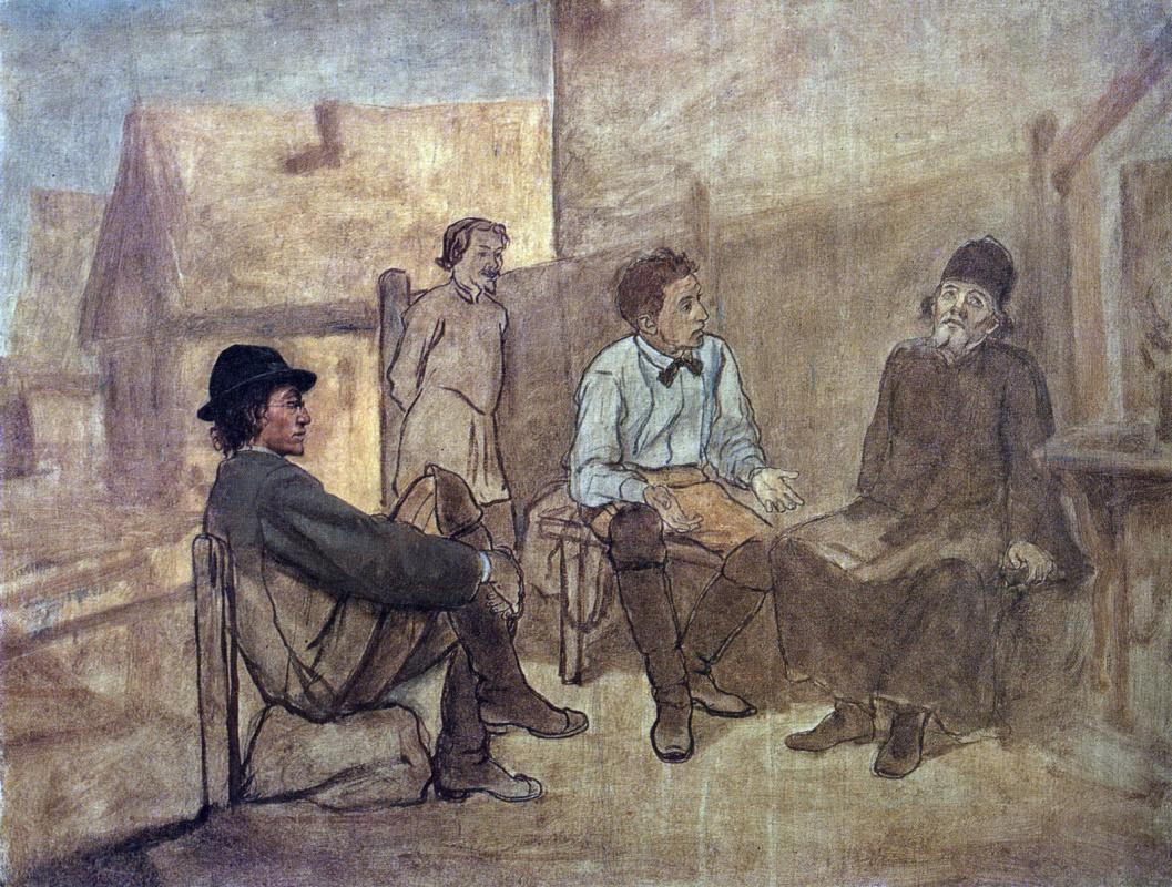 Василий Григорьевич Перов. Разговор студентов с монахом