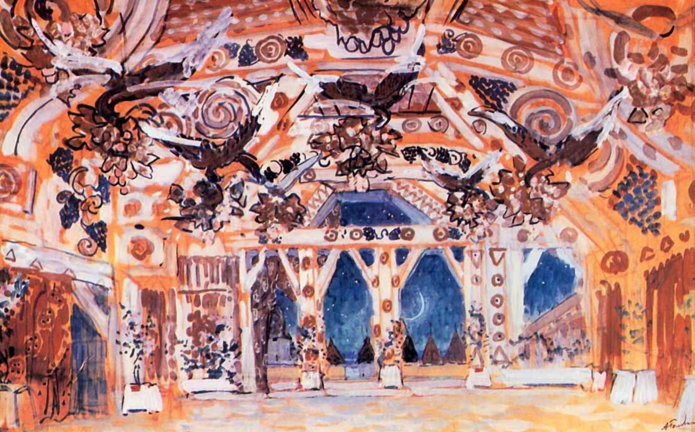 "Alexander Yakovlevich Golovin. The Golden hall. The sketch for the ballet by A. N. Korusenko, ""Magic mirror"""
