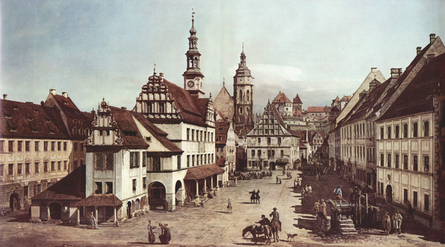 Giovanni Antonio Canal (Canaletto). View of Pirna, the market square in Pirna
