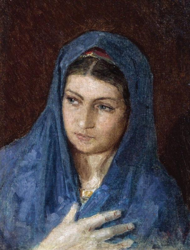 Константин Аполлонович Савицкий. Голова женщины в синем платке