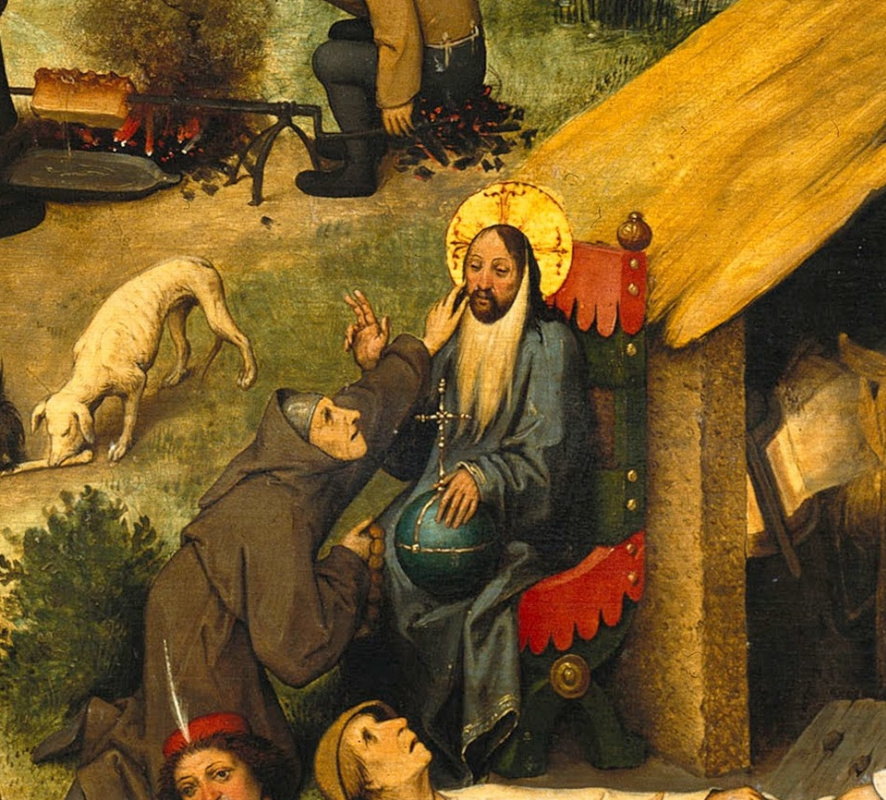 Pieter Bruegel The Elder. Flemish proverbs. Fragment: Tying a linen beard to Christ - hiding deception under the guise of piety