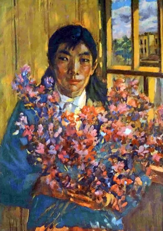 Vasily Fadeevich Demin. Tuvinka with rosemary