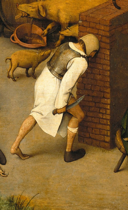Pieter Bruegel The Elder. Flemish proverbs. Fragment: Beat your head against the wall - try to achieve the impossible