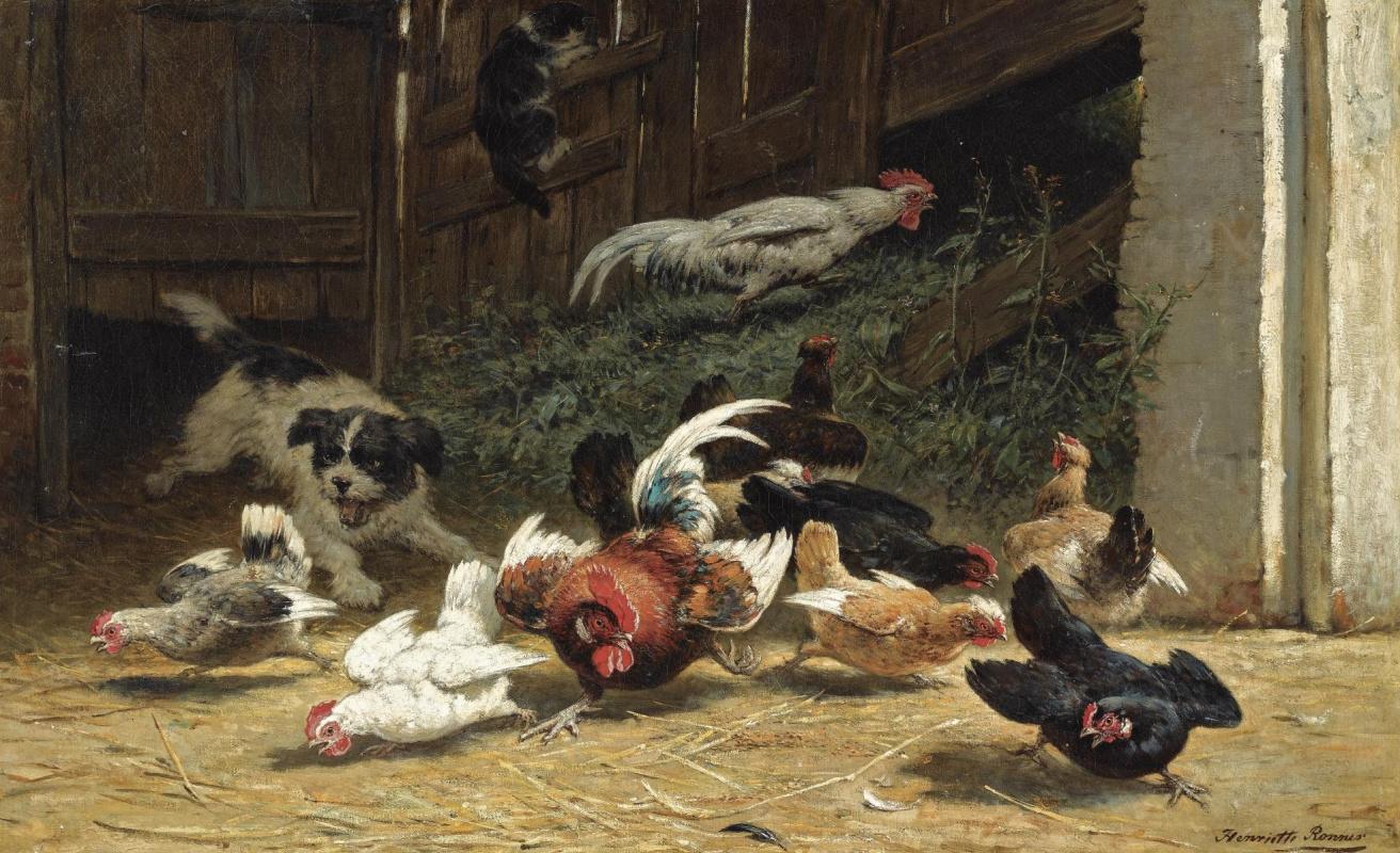 Henrietta Ronner Knip. The puppy in the barnyard
