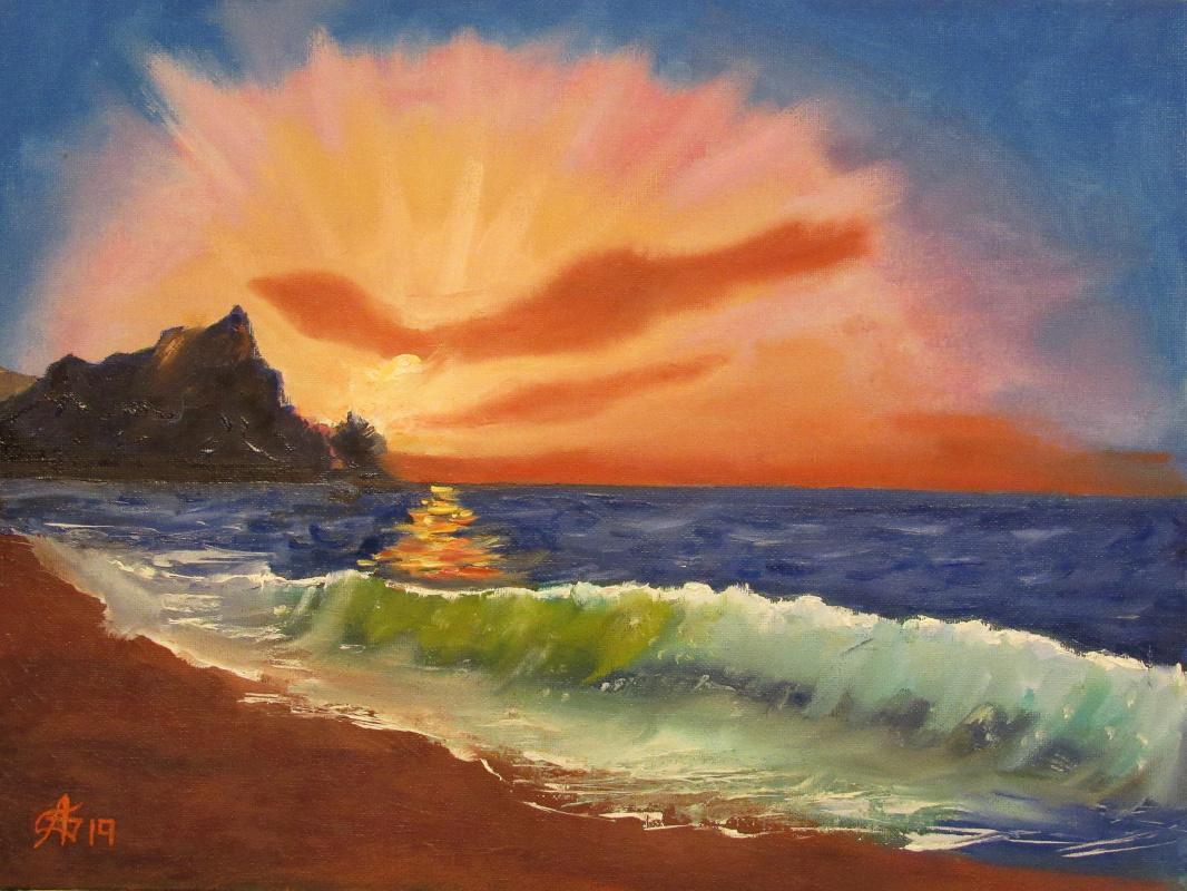 Artashes Badalyan. Evening at sea - x-map. - 30x40