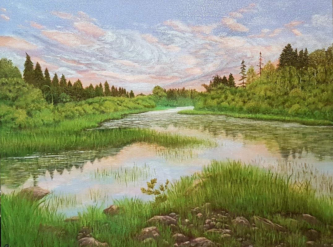 Elena Stepanenko. River at sunset