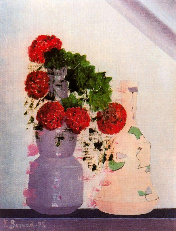 Энрике Бернад. Цветы в вазе на окне