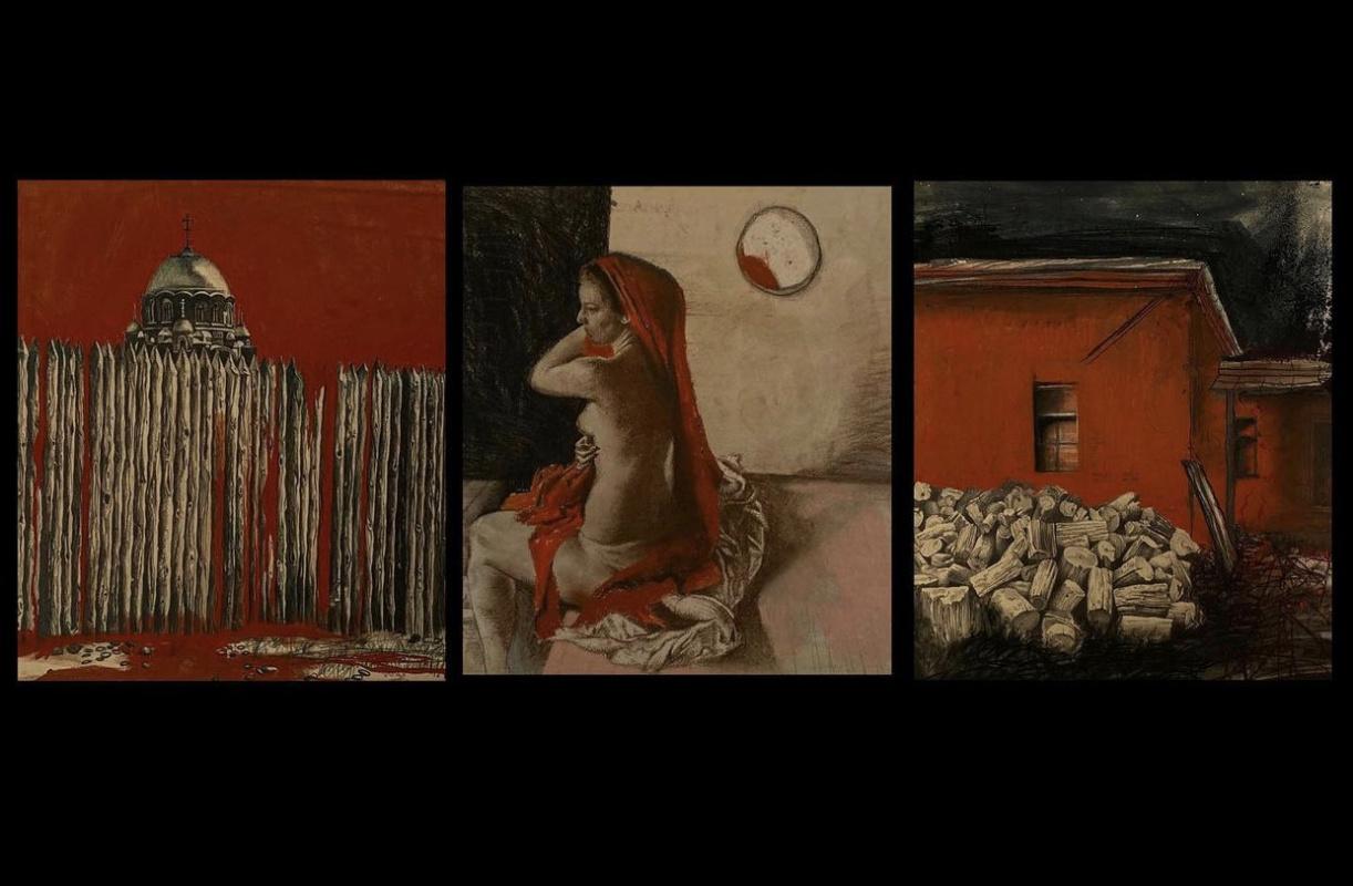 Анна Зайцева. Триптих Красная пастель.