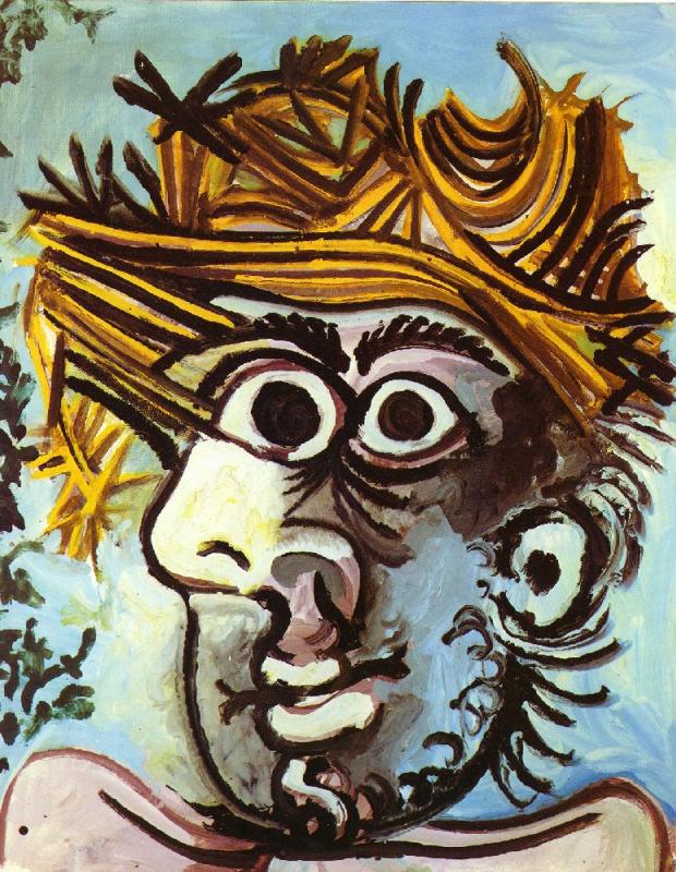 Пабло Пикассо. Голова мужчины в соломенной шляпе
