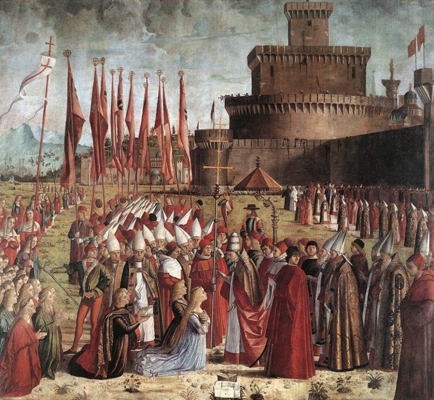 Vittore Carpaccio. The arrival of the pilgrims in Cologne and the meeting with the Pope. Scene from the life of St. Ursula