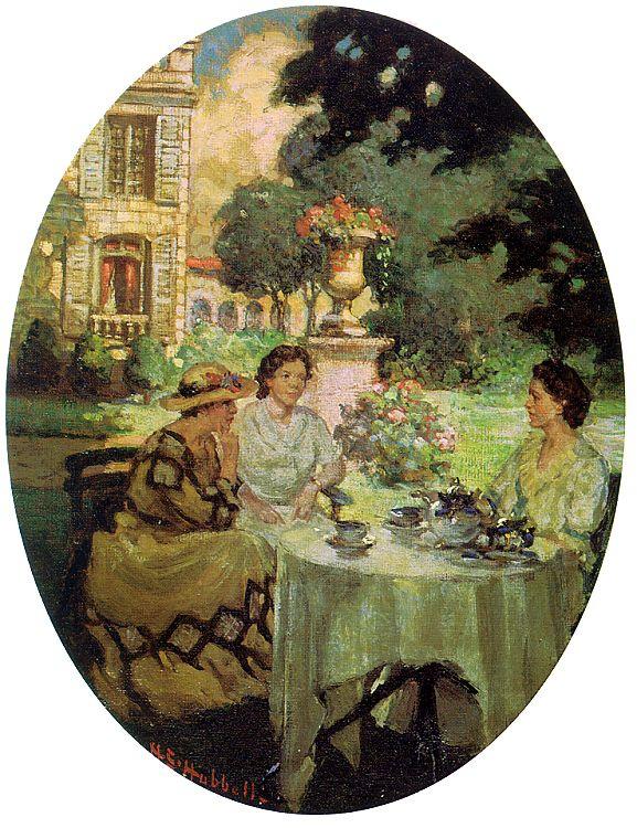 Генри Саллем Хаббелл. Чай в саду