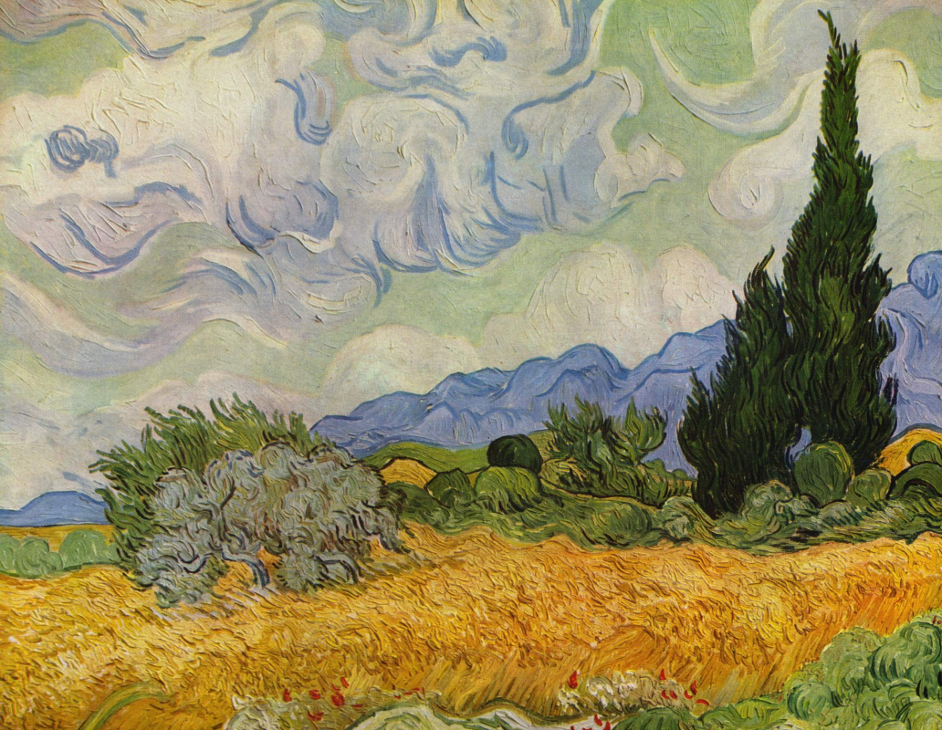 Вышивка пшеничное поле с кипарисами 82