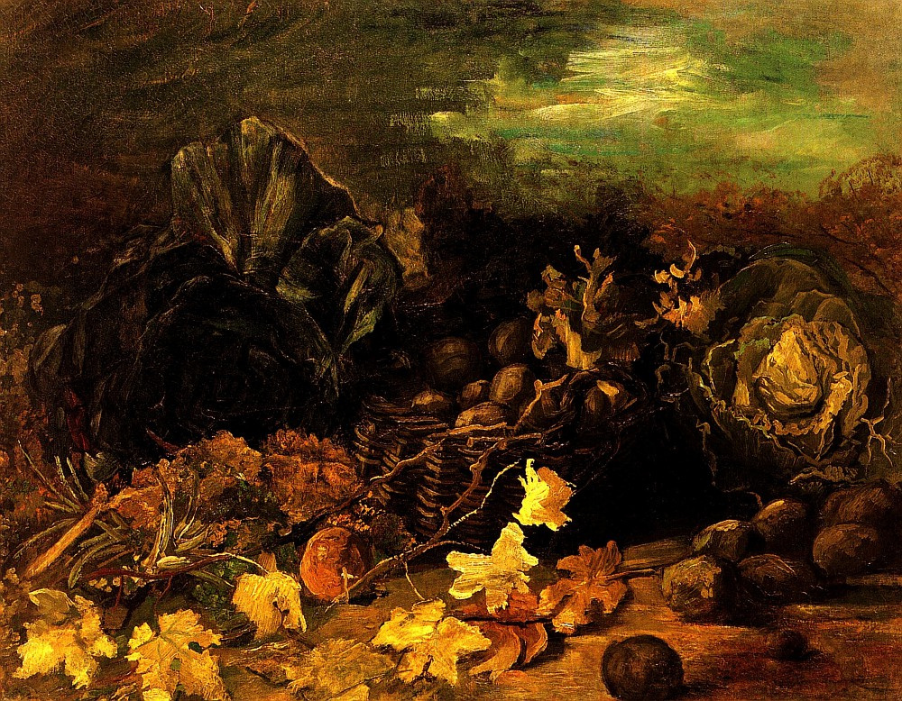 Vincent van Gogh. Still life with a basket of potatoes surrounded by autumn leaves and vegetables