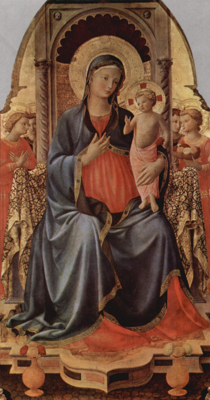 Fra Angelico. Maria with child and an angel, Central panel of the triptych with two saints on the wings, the base of the triptych with scenes from the life of St